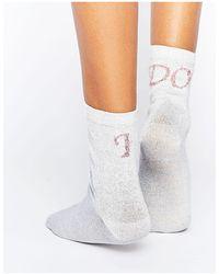 ASOS Asos Bridal Slogan Ankle Socks-white