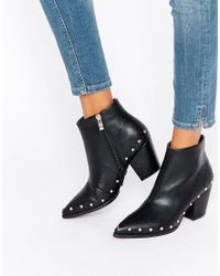 Daisy Street - Stud Heeled Ankle Boots - Lyst
