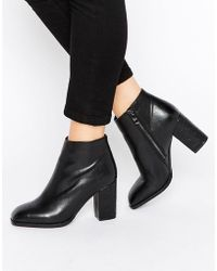 Daisy Street Square Toe Heeled Ankle Boots - Black