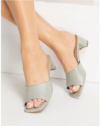 & Other Stories Leather Heeled Mules - Green