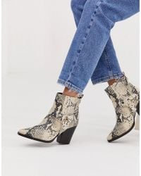 Steve Madden Uno Snake Western Heeled Boot - Multicolour