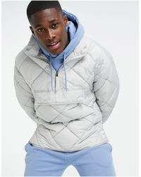 TOPMAN Recycled Quilted Funnel Neck Jacket - Grey