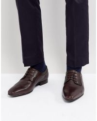 Dune - Lace Up Derby Shoes In Brown High Shine - Lyst