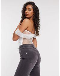 Naanaa Bardot Mesh Bodysuit - White