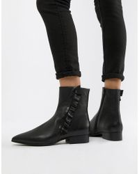 SELECTED - Femme Leather Frill Detail Ankle Boots - Lyst