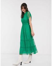 Whistles Зеленое Платье Миди С Цветочным Принтом И Рукавами-оборками -зеленый