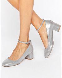 Faith Alexa Ankle Strap Silver Mid Heeled Shoes - Metallic