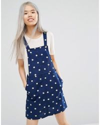 Monki Dungaree Dress - Blue