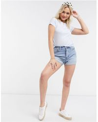Hollister Mom Denim Short With Turn Up Hem - White