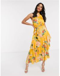 Lipsy Halterneck Ruffle Tiered Maxi Dress - Yellow