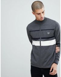 Fred Perry - Textured Zip Through Cardigan In Grey - Lyst