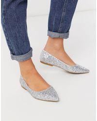 ASOS Lucky Pointed Ballet Flats - Metallic