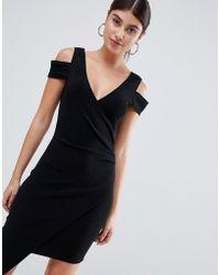 AX Paris - Cold Shoulder Midi Dress With Split Detail - Lyst