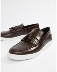 Fred Perry George Cox Tassle Leather Contrast Sole Loafers In Oxblood - Red