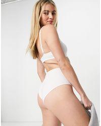Weekday Rosalia - Culotte taille haute en coton biologique - Blanc