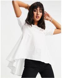 ONLY – es T-Shirt mit hinten plissiertem Schößchen - Weiß