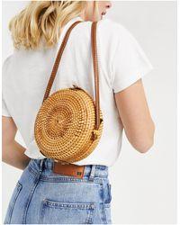 ASOS Emma Circular Rattan Cross Body Bag - Natural