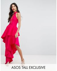 ASOS Sexy Lace Up Tiered Maxi Dress - Pink