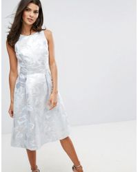 Warehouse - Metallic Jacquard Midi Dress - Lyst