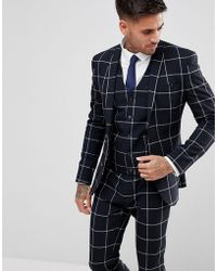 ASOS Asos Super Skinny Suit Jacket In Navy With White Windowpane Check - Blue