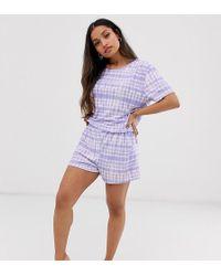 Boohoo Exclusive Pyjama Set In Lilac Tie Dye - Purple