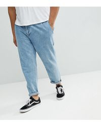 ASOS - Plus Double Pleated Jeans In Mid Wash Blue - Lyst