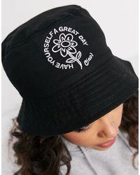 ASOS Панама Из Парусины С Цветком-логотипом - Черный
