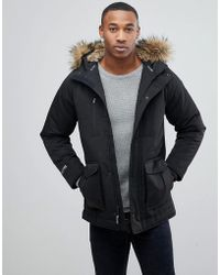 Hollister | Padded Parka With Faux Fur Hood In Black | Lyst