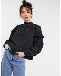 Y.A.S Черная Блузка С Высоким Воротником И Вышивкой -черный Цвет