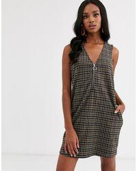 Vero Moda Zip Up Checked Pinny Dress - Black