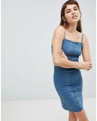 Cheap Monday Spray On Denim Slip Dress - Blue
