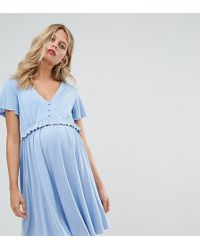 GeBe Maternity Nursing Frill Detail Skater Dress - Blue