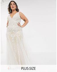 Jovani Embellished Plunge Fishtail Dress-white