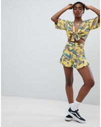 ASOS - Design Tailored Soft Fluted Short In Tropical Print Two-piece - Lyst