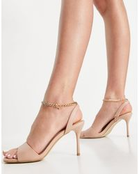 New Look Ankle Chain Heeled Sandals - Brown