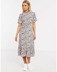 Missguided Платье Миди С Ярусным Подолом И Далматинским Принтом -мульти - Многоцветный
