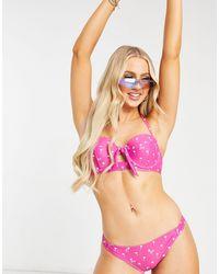 Juicy Couture Venice Beach - Fascia bikini con coppe e stampa di palme - Multicolore