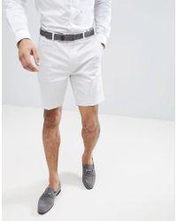 ASOS - Pantalones cortos de vestir de corte slim y largo medio de algodn de satn en gris hielo de - Lyst