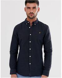 Farah Темно-синяя Приталенная Оксфордская Рубашка Brewer-темно-синий