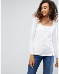 ASOS - Top With Square Neck And Long Sleeve - Lyst