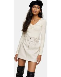 TOPSHOP Faux Leather Zip Detail Paperbag Mini Skirt - Natural