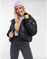 Monki Amber Faux Leather Short Padded Jacket With Hood - Black