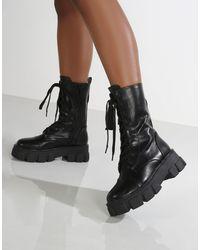Public Desire Черные Ботинки На Массивной Подошве С Отстегивающимся Клатчем, На Шнуровке Intention-черный Цвет