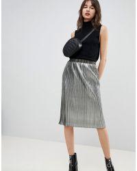 HUGO - Metallic Skirt With Logo Waistband - Lyst