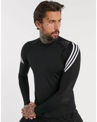 adidas Originals Adidas Training Alphaskin 3 Stripe Long Sleeve T-shirt - Black