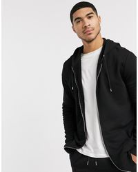 ASOS Longline Zip Up Hoodie - Black