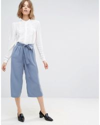 First & I - Belted Culotte Trousers - Lyst