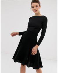 Closet Wardrobe Long Sleeve Pep Hem Dress - Black