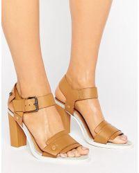 G-Star RAW Claro Tan Leather Heeled Sandals - Brown