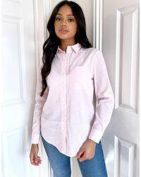 New Look - Розовая Рубашка В Полоску С Карманом -розовый - Lyst